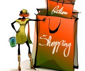 Shopping bag and woman illustration vector