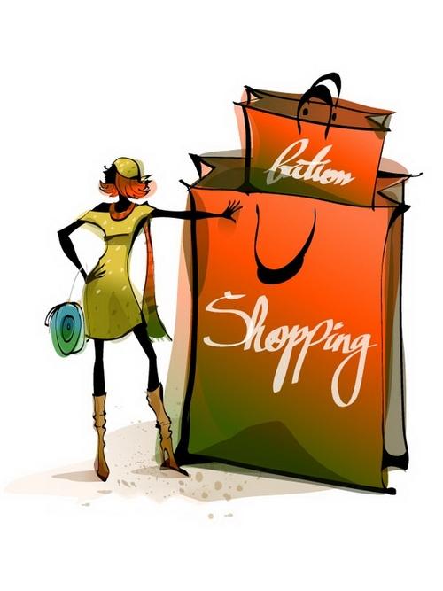 Shopping bag and woman illustration vector