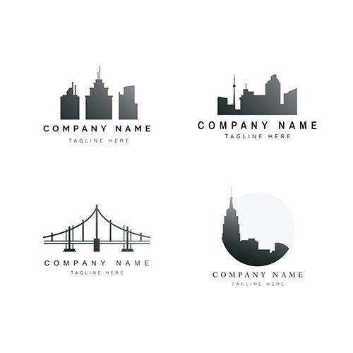 Silhouette cityscape logo vector