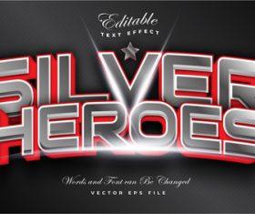 Silver heroes editable font text effect vector