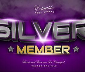 Silver member 3d editable font text effect vector