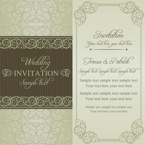 Simple wedding vector invitation card