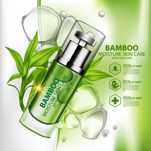 Skin care cosmetics vector with natural ingredients
