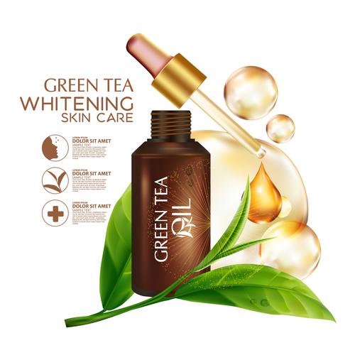 Skin care green tea oil vector