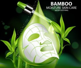 Skin care mask bamboo essence vector