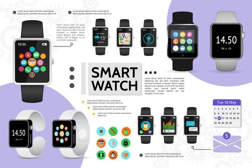 Smart watch flat cartoon illustration vector
