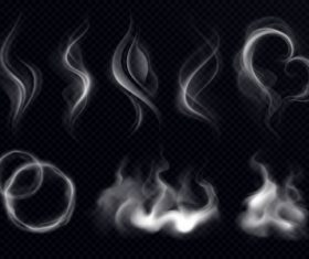 Smoke shape realistic white dark transparent vector