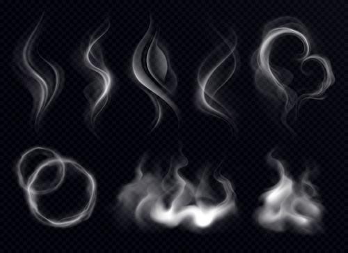 Smoke shape realistic white dark transparent vector