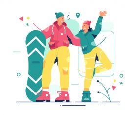 Snowboarder posing graphic design vector