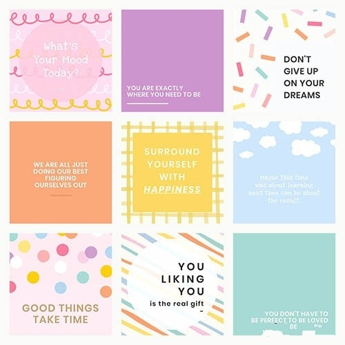 Social media quote template vector with inspirational text set