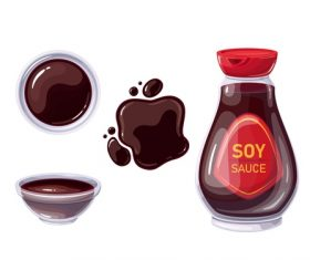 Soy sauce icons for design vector