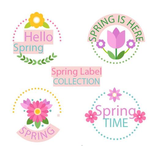 Sping label collection vector