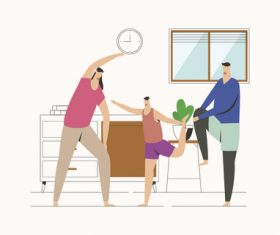 Sport family home exercising illustration vector