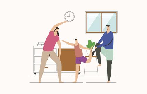 Sport family home exercising illustration vector