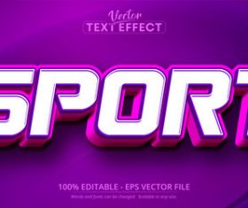 Sport font 3d editable text style effect vector