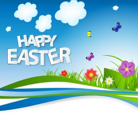 Spring background happy easter vector