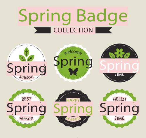 Spring badge collection vector