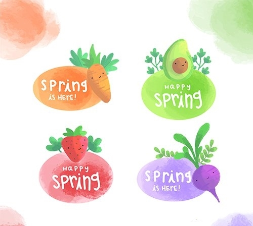 Spring label collection vector