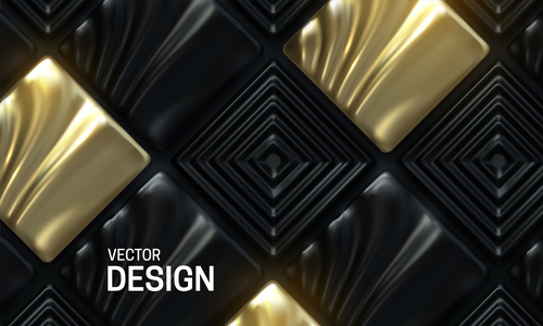Square gold and black abstract background vector