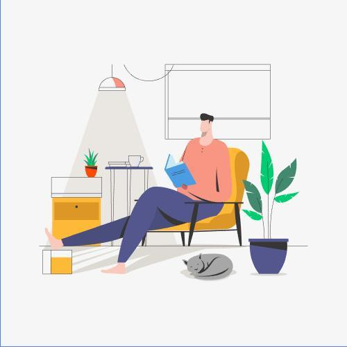 Stay home and read book illustration vector