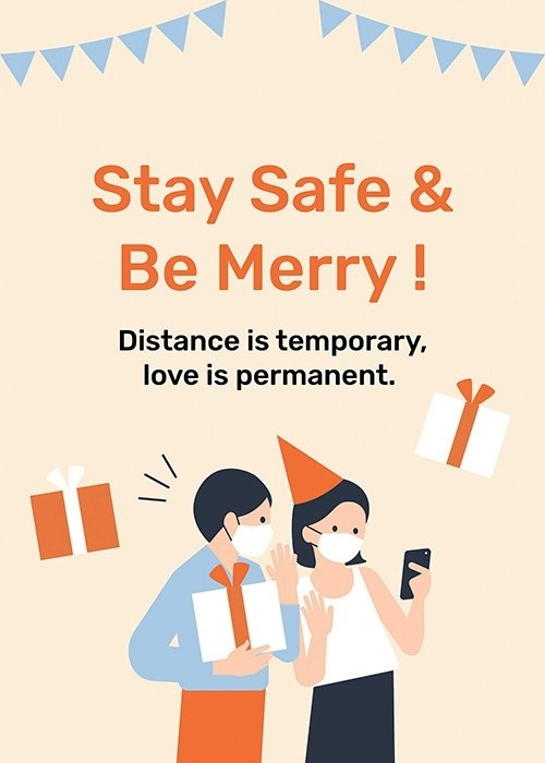 Stay safe be merry vector template new normal celebration