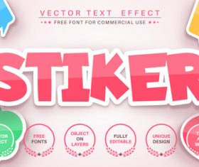 Sticker 3d editable text style effect vector