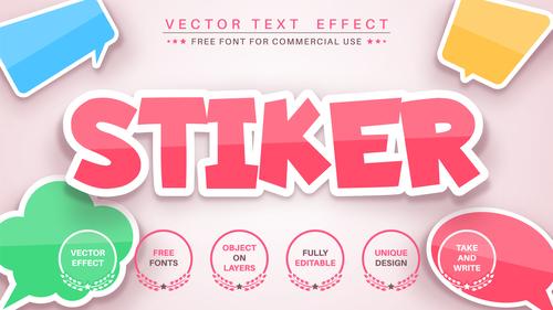 Sticker 3d editable text style effect vector