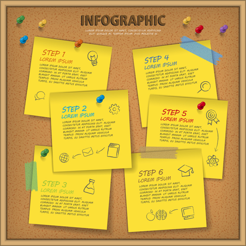 Sticky note wall concept infographic vector