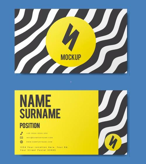 Striped cover business card vector