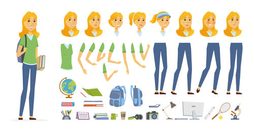 Student cartoon people character constructor vector