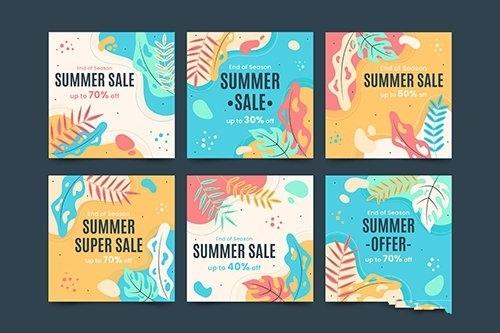 Summer Concept Social Media Vector Template