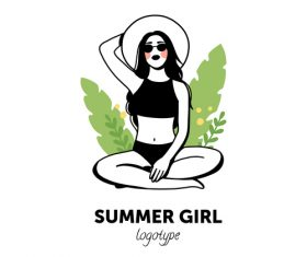 Summer girl logo vector
