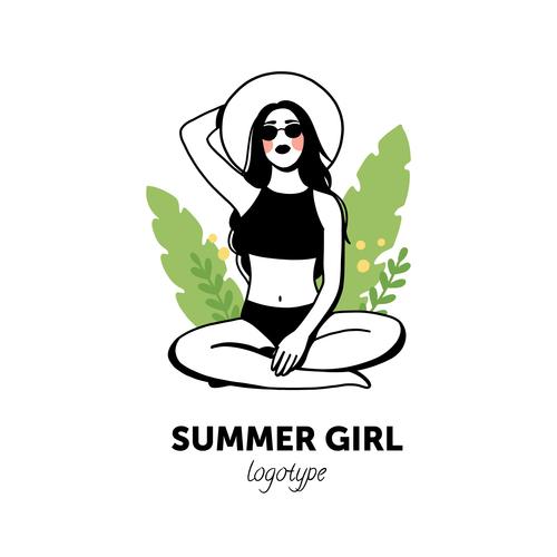 Summer girl logo vector