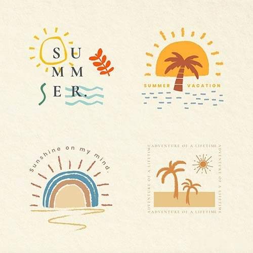 Summer vacation colorful badges vector