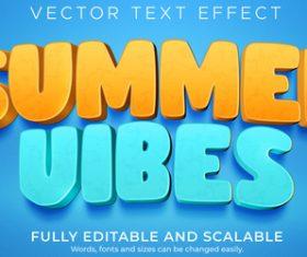 Summer vibes 3d effect text design vector