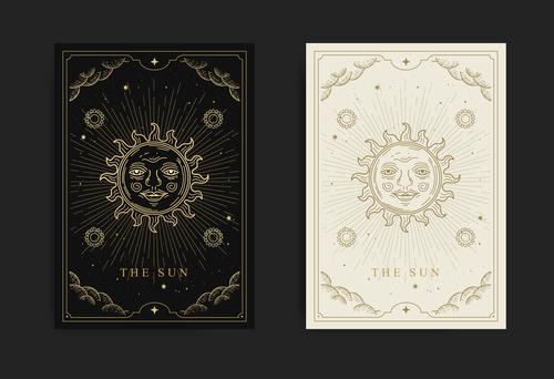 Sun tarot esoteric boho style design vector