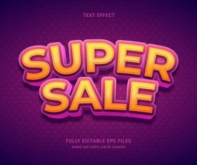 Super sale editable text effect vector