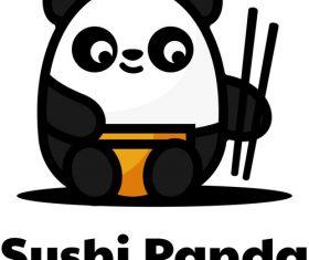 Sushi panda logo vector