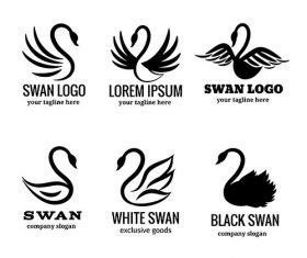 Swan logo set of white or black swan vector