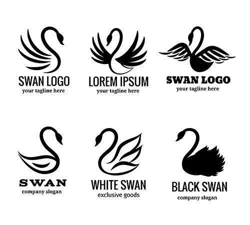 Swan logo set of white or black swan vector