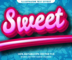 Sweet 3d editable text style effect vector