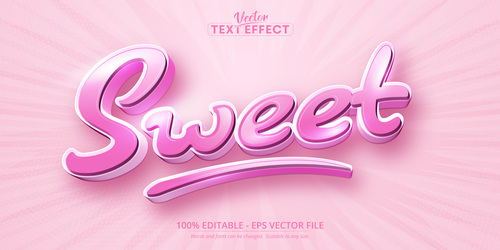 Sweet editable text effect vector