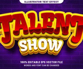 Talent show 3d editable text style effect vector