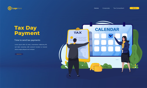 Tax day payment illustrations vector