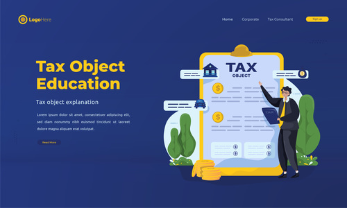 Tax object education illustrations vector