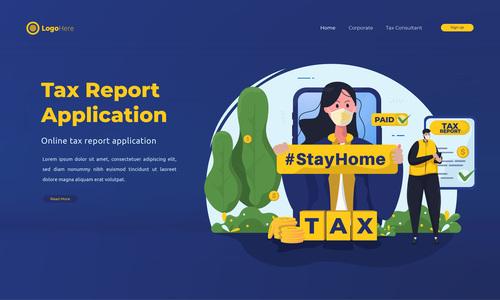 Tax report application illustrations vector