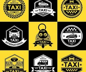 Taxi retro style emblems vector