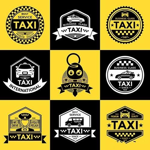 Taxi retro style emblems vector