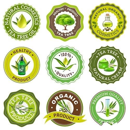 Tea tree emblem set vector