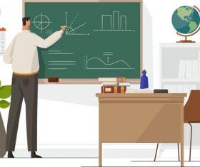 Teacher write on blackboard illustration vector